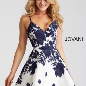 Jovani Ivory and Navy Print Fit and Flare Dress